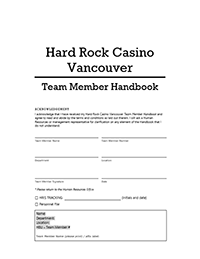 Hard Rock Casino Vancouver Team Member Handbook