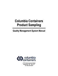 Columbia Containers Quality Management System Manual